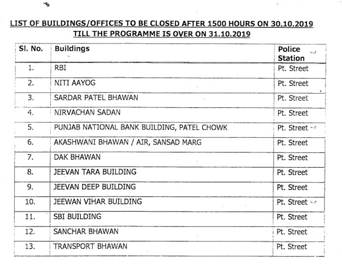 DoPT Order - Closure of offices surrounding Patel Chowk on 30.10.2019 and 31.10.2019