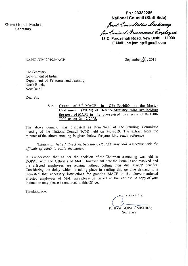 Sanction of III MACP in Grade Pay Rs.4600 to the MCM (Master Craftsmen)