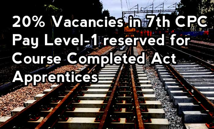 20% Vacancies in 7th CPC Pay Level-1 reserved for Course Completed Act Apprentices