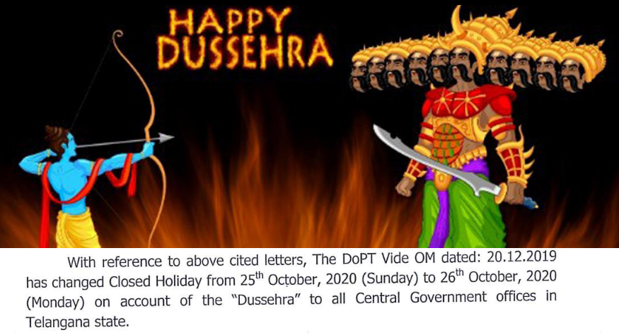 """Change of Closed Holiday to be observed by the Central Government offices in Telangana state on the eve of """"Dussehra"""" festival 2020"""