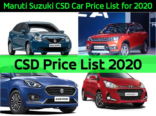 Maruti Suzuki CSD Car Price List for 2020 - CSD Price List 2020
