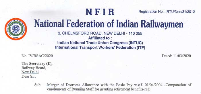 Merger of Dearness Allowance with the Basic Pay Running Staff retirement benefits NFIR