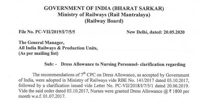 7th CPC Dress Allowance to Railway Nursing Staff