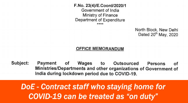 Contract staff who staying home for COVID-19 can be treated as on duty