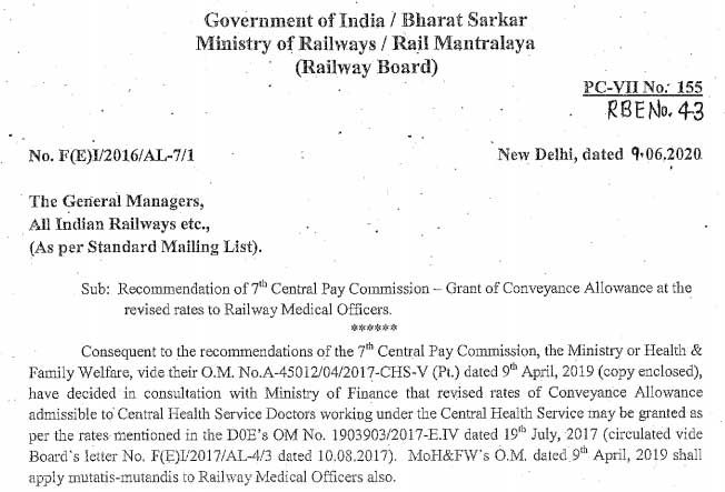 7th CPC revised conveyance allowance rates for Railway Medical Officers