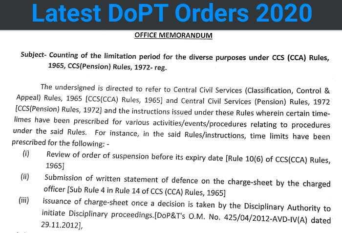 Counting of the limitation period for the diverse purposes under CCS (CCA) Rules, 1965, CCS   (Pension) Rules, 1972