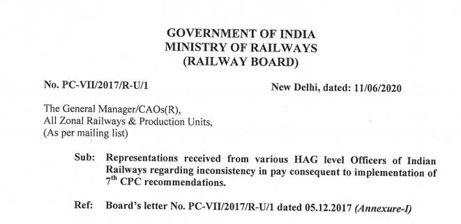 Representations received from various HAG level Officers of Indian Railways regarding inconsistency in pay consequent to implementation of 7th CPC recommendations