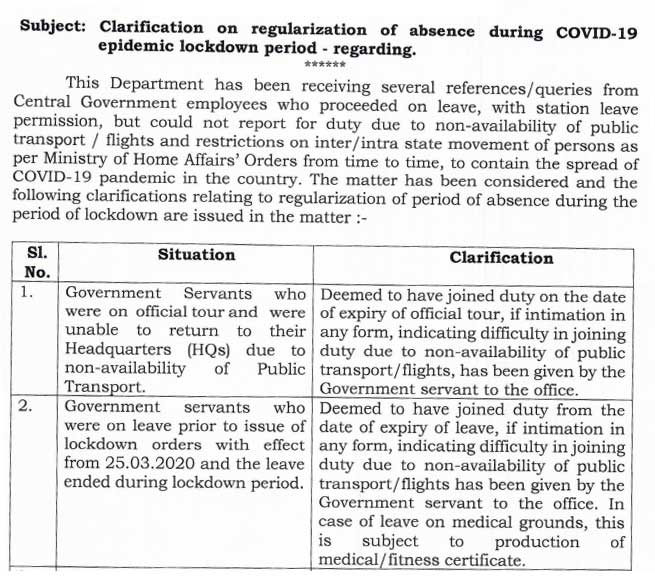 Absence during COVID-19 pandemic lockdown period - DoPT Order 2021
