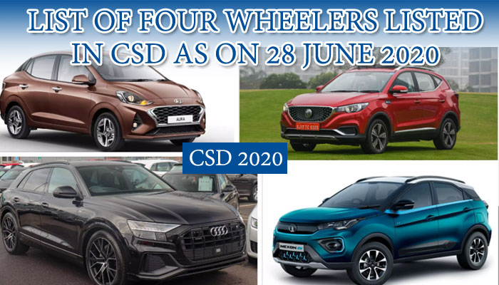 CSD Car price list 2020 - List of four wheeler listed in CSD as on June 28, 2020