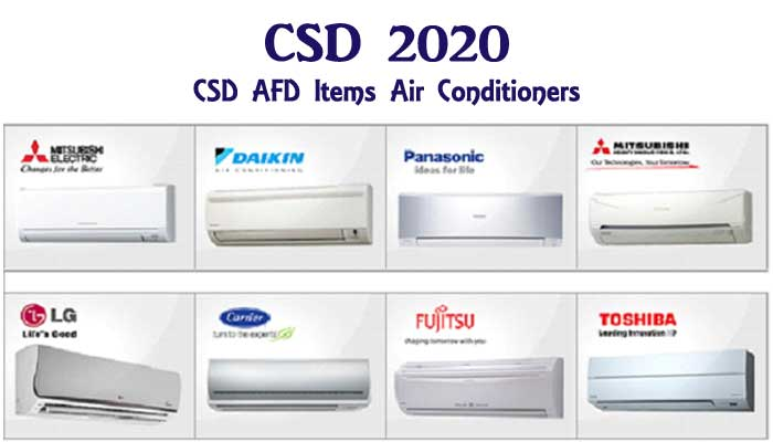 CSD 2020 - CSD AFD Items Air Conditioners AC Listed in CSD