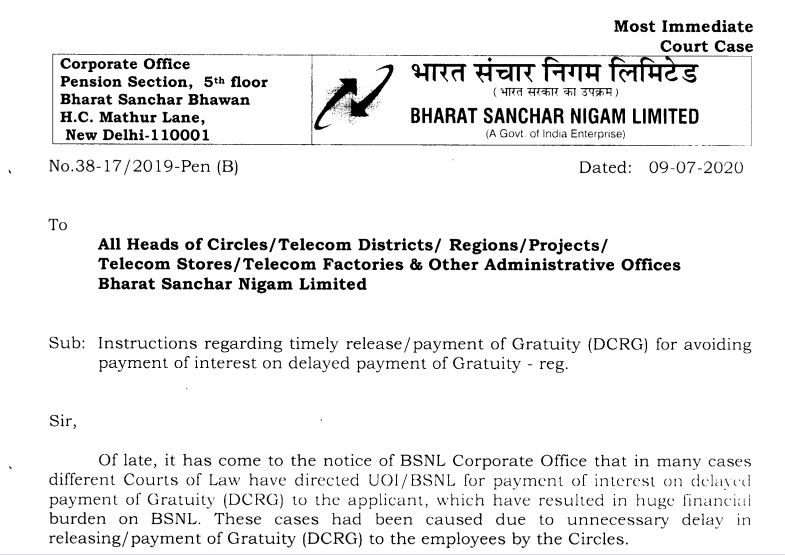 BSNL - Instructions regarding timely release / payment of Gratuity for avoiding payment of interest on delayed payment of Gratuity