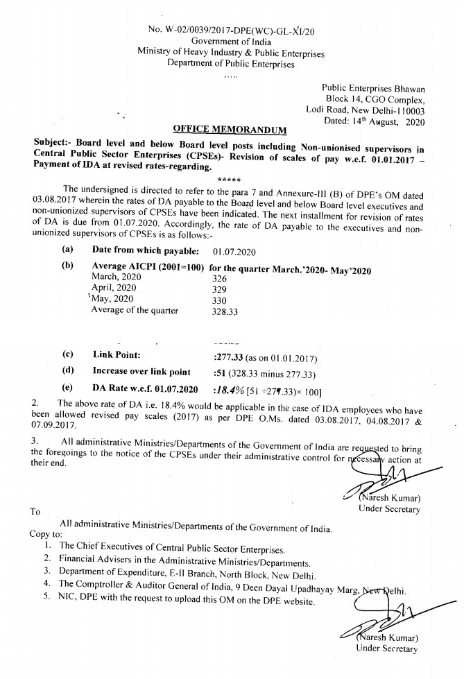 CPSEs Payment of IDA at revised rates