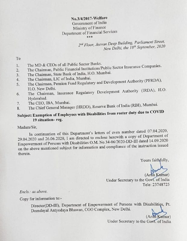 Exemption of Employees with Disabilities from roster duty due to COVID19