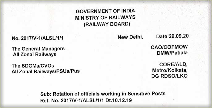 Railway Rotational Transfer of officials working in Sensitive Posts