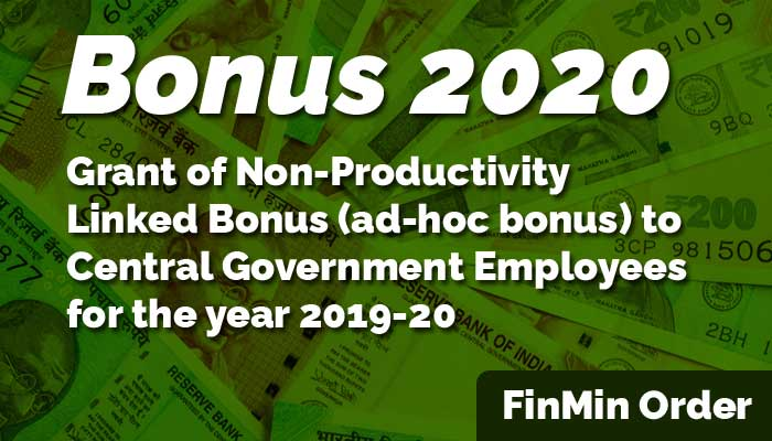 Central Government Employees Bonus 2020
