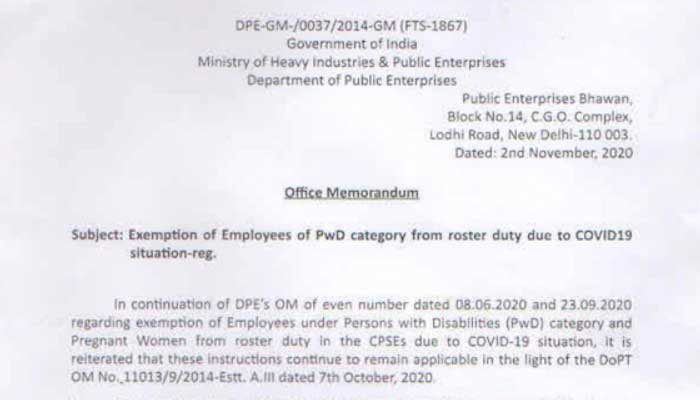 Exemption of Employees under Persons with Disabilities (PwD) category and Pregnant Women from roster duty Covid-19
