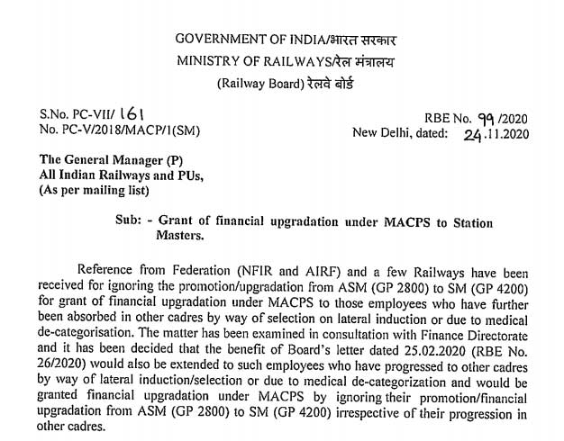 MACPS to Railway Station Masters