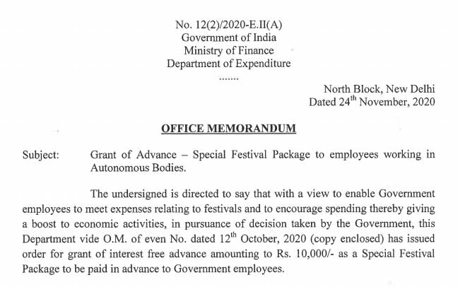 Special Festival Package to employees working in Autonomous Bodies