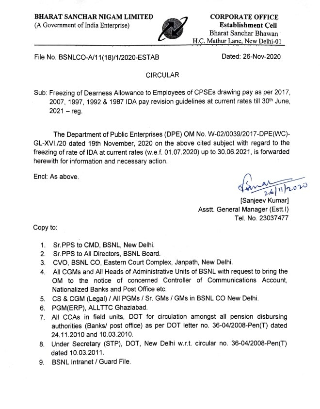 Freezing of Dearness Allowance to CPSEs Employees