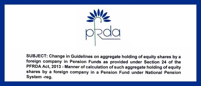 Holding of equity shares by Pension Fund under National Pension System NPS PFRDA
