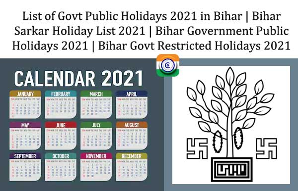 Holiday List 2021 Bihar Government - Bihar Government Holidays 2021