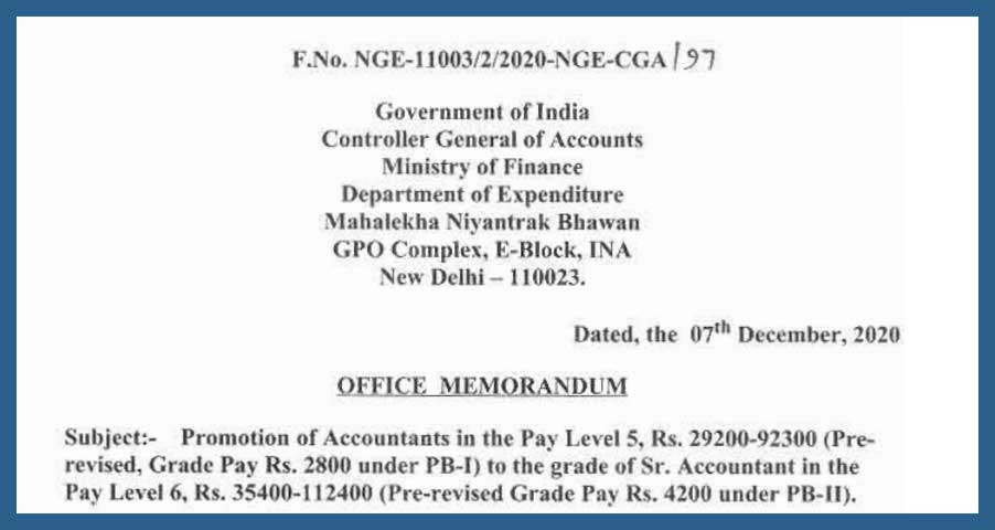 Promotion of Accountants in the Pay Level 5 to Pay Level 6 Sr Accountant - CGA