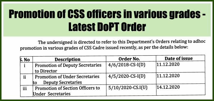 Promotion of CSS officers in various grades - Latest DoPT Order