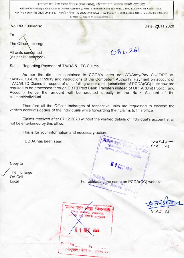 Payment of TA/DA & LTC Claims - Principal Controller of Defence Accounts