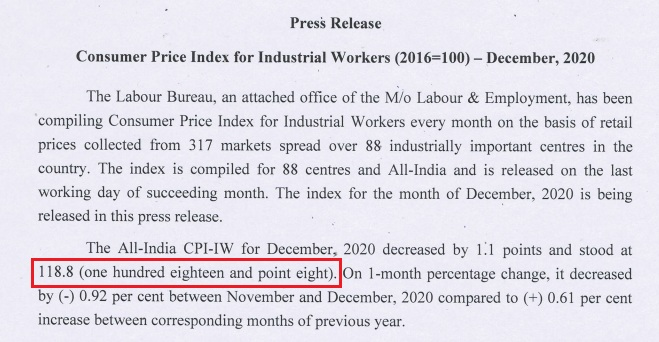 AICPIN for the month of December 2020 - Expected DA 2021