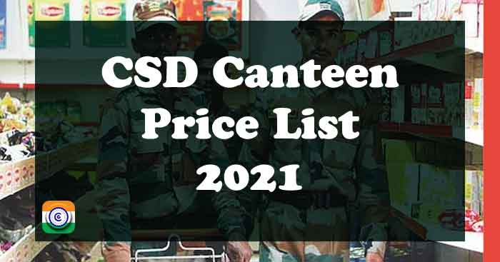 CSD Canteen Price List 2021