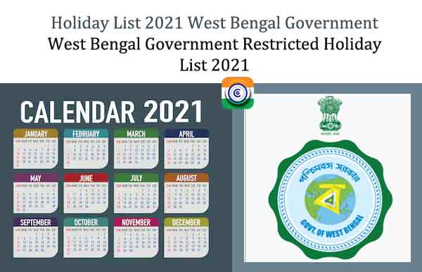 Holiday List 2021 West Bengal Government - WB Govt Restricted Holiday List 2021