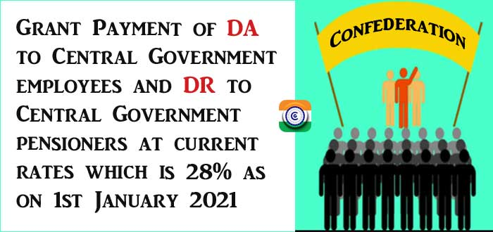 Payment of DA DR to Central Government employees at current rates Confederation