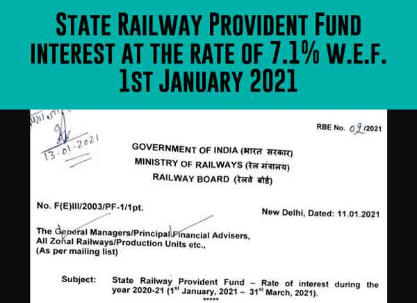 Railway Provident Fund Rate of interest 2021