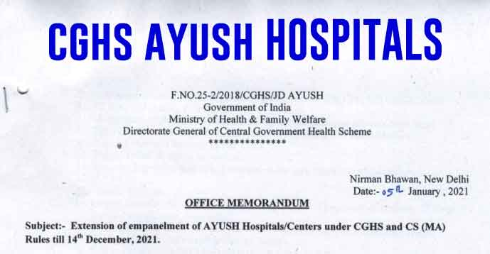 Extension of Empanelment of AYUSH Hospitals under CGHS till 14 Dec 2021
