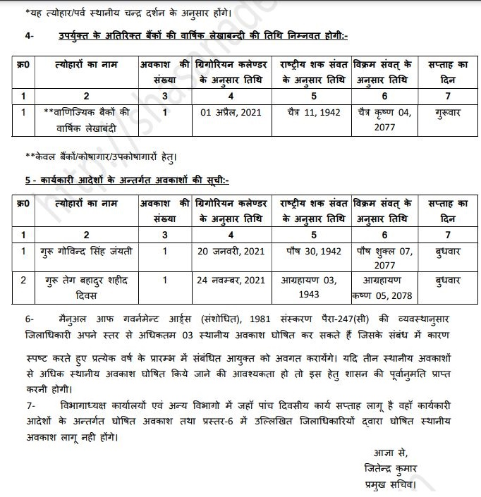 List of Restricted Holiday 2021 in Uttar pradesh Government