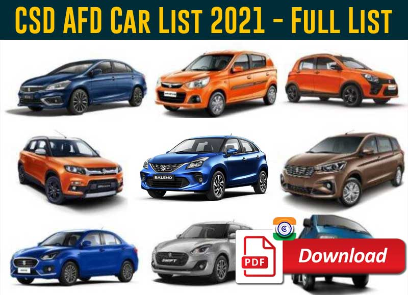 CSD AFD Car List 2021 - LATEST LIST OF FOUR WHEELERS LISTED IN CSD DOWNLOAD PDF