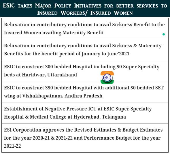 ESIC - Relaxation in contributory conditions to avail Sickness Benefit to the Insured Women availing Maternity Benefit - PIB