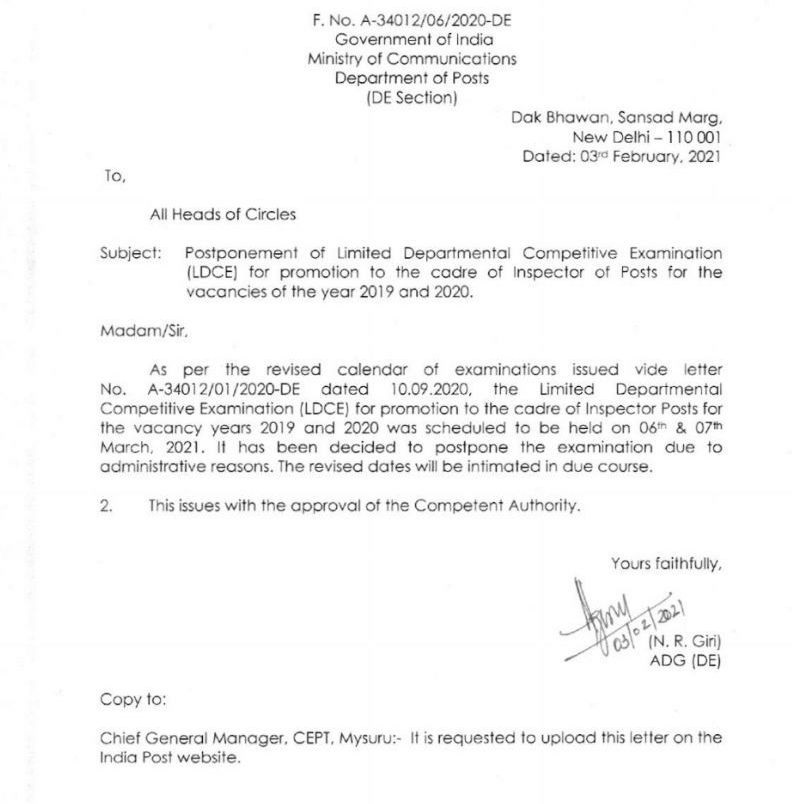 Postponement of LDCE for promotion to Inspector of Posts for 2019-2020