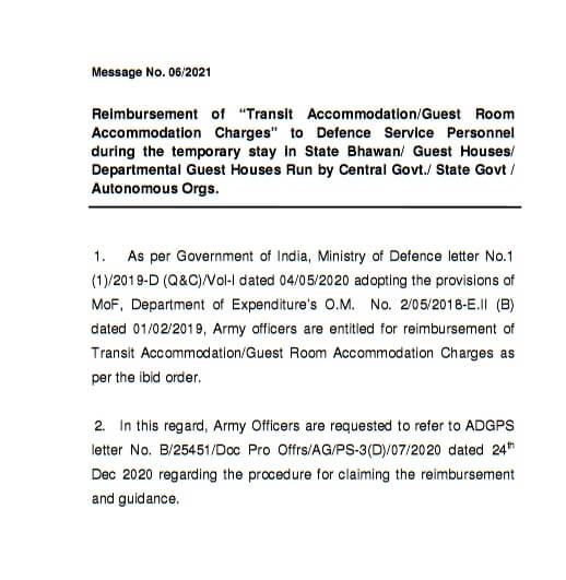 Reimbursement of Guest Room Accommodation charges to Defence Staffs