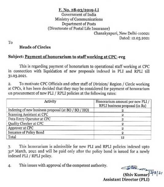 Payment of honorarium to operational staff working at CPC - Honorarium amount per new PLI / RPLI business proposal - DoP