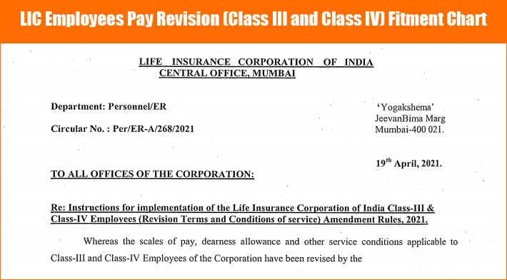 LIC Employees Pay Revision Class III and Class IV Fitment Chart