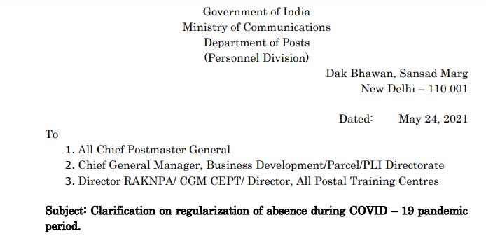 Clarification on regularization of absence during COVID-19 pandemic period 2021