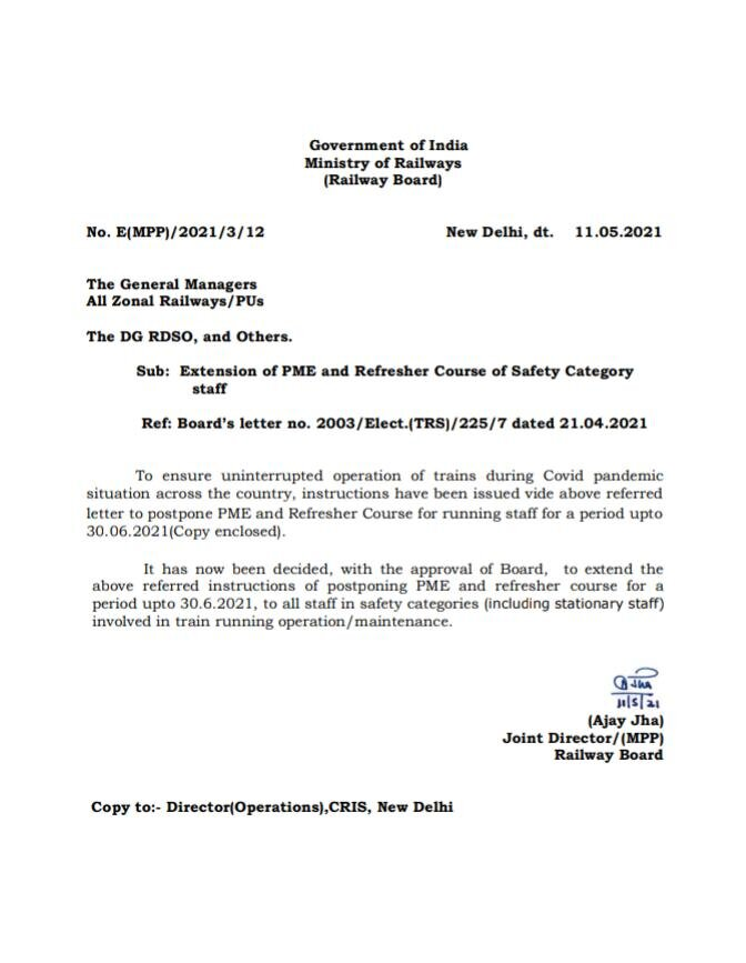 Railway Board Orders Extension of PME and Refresher Course for Safety Category Employees