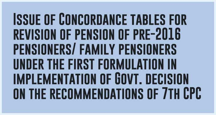 7th CPC Concordance Tables for Armed Forces personnel notional pay JCO/ORs pre-2016 pensioners