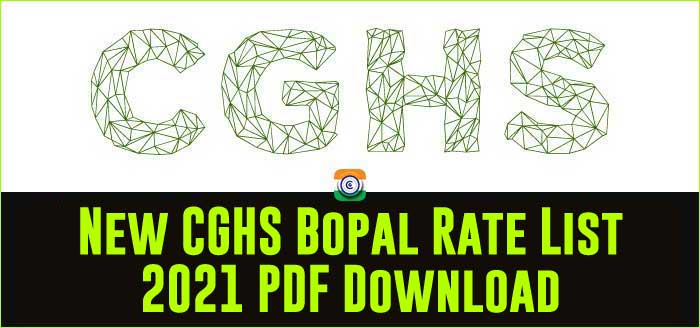 Bhopal CGHS Rate List 2021 - PDF Download