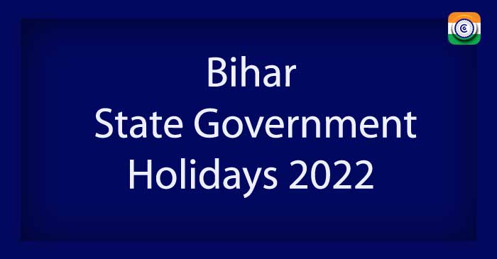 Bihar State Government Holidays 2022 PDF Download