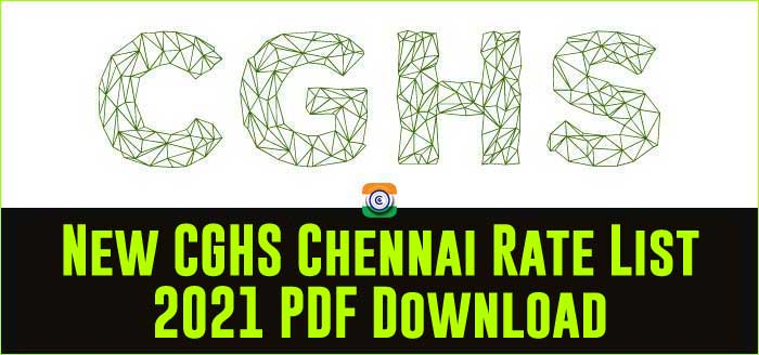 CGHS Chennai updated Rate Card 2021 PDF