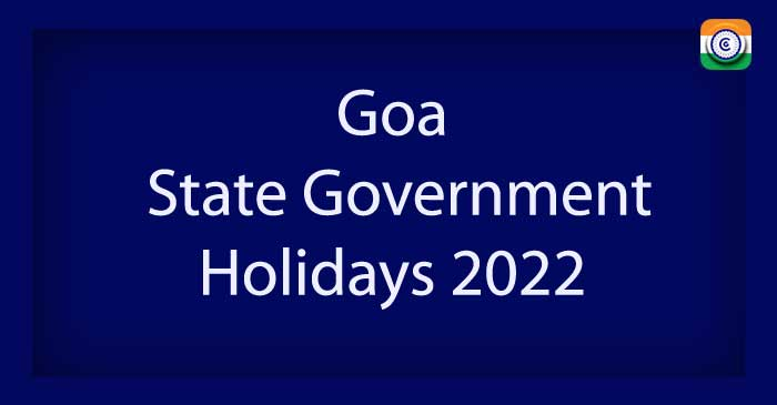 Goa State Government Holidays 2022 PDF Download