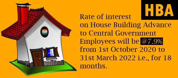Interest rate on 7th CPC House Building Advance to Central Government Employees 2022