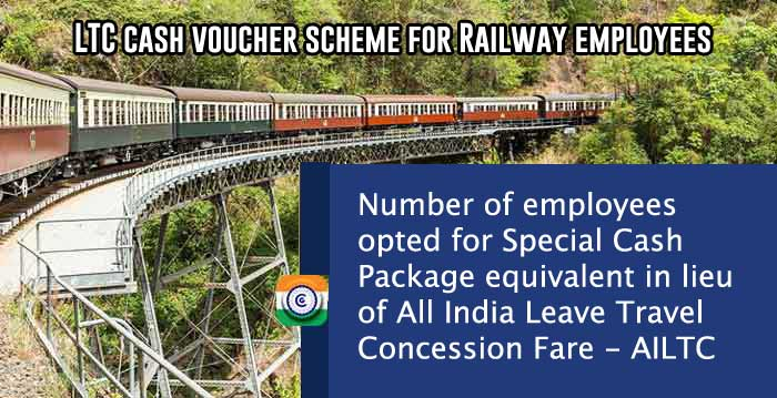 LTC cash voucher scheme for Railway employees - Number of employees opted for Special Cash Package equivalent in lieu of All India Leave Travel Concession Fare AILTC
